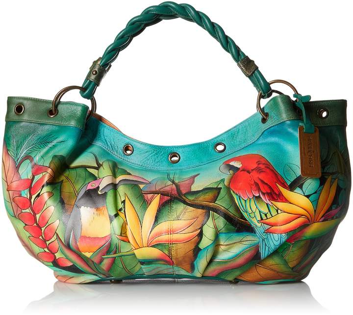 Anuschka Handpainted Leather Braided Handle Large Ruched Hobo