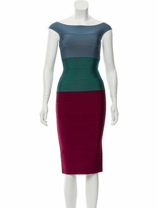 Herve Leger Colorblock Bandage Dress Blue