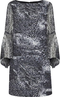 Elie Tahari Esmarella Printed Georgette-paneled Crepe De Chine Mini Dress