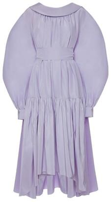 Alexander McQueen Cotton-Silk Bow-Back Midi Dress