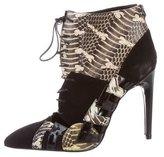 Bottega Veneta Python-Trimmed Suede Ankle Boots