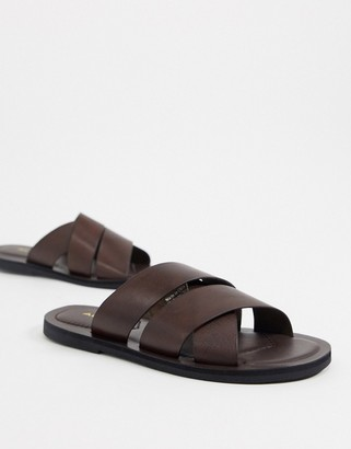 Aldo thigollan leather footbed flat sandals in brown