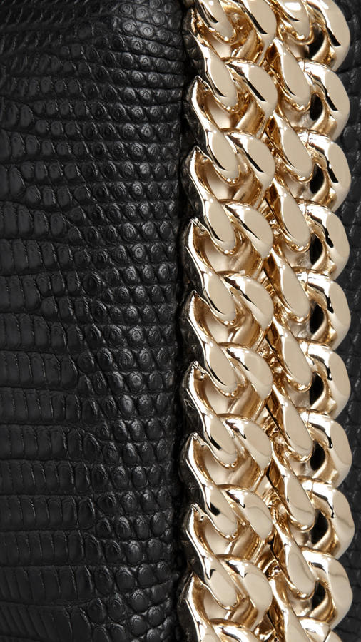 Burberry Chain-Detail Lizard Box Clutch