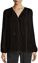 Elie Tahari Josette Long-Sleeve Lace-Trim Silk Blouse