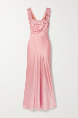 DÔEN Nola Embroidered Silk-satin Maxi Dress - Baby pink