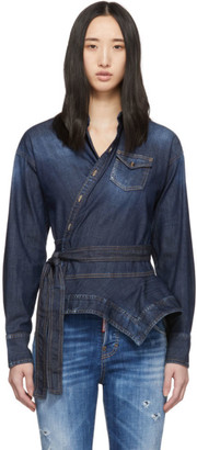 DSQUARED2 Blue Denim Handkerchief Shirt