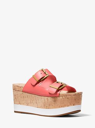 Michael Kors Delilah Leather and Cork Flatform Sandal