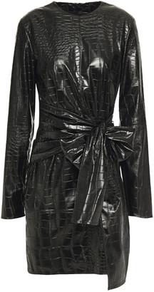 MSGM Tie-detailed Faux Croc-effect Leather Mini Dress