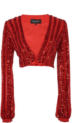 Saloni Camille Cropped Sequined Silk-Chiffon Top