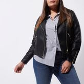 River Island Womens Plus black faux leather biker jacket