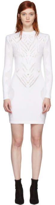Balmain White Drop-Stitch Knit Dress