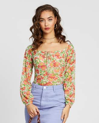 Missguided Floral Tie Front Long Sleeve Bardot Bodysuit