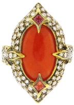 Cathy Waterman Blackened Arabesque Double Leaf Ring with Coral - 22 Karat Gold