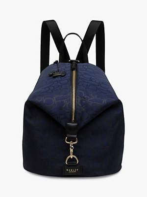 Radley Signature Jacquard Backpack, Dark Blue