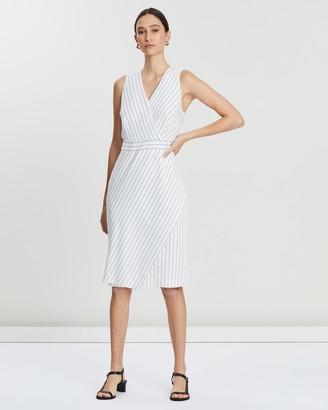 Banana Republic Sleeveless Wrap Front Stripe Sheath Dress
