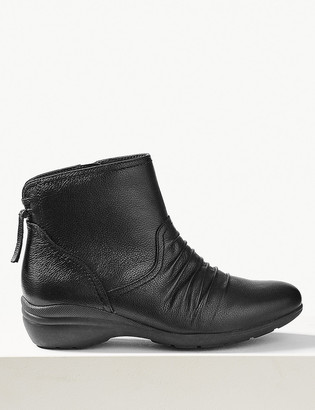 Marks and Spencer Leather Wedge Tassel Ruched Ankle Boots