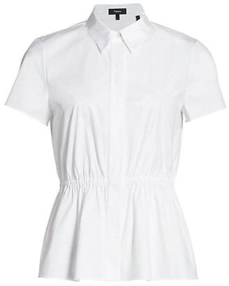 Theory Short-Sleeve Cinched Shirt