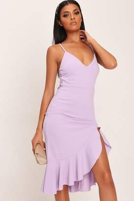 I SAW IT FIRST Lilac Plunge Frill Hem Midi Dress