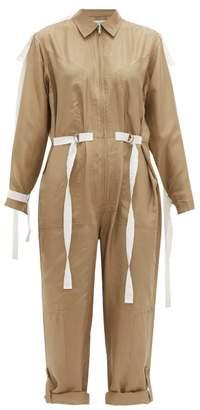 Lee Mathews - Judd Grosgrain-trim Silk Jumpsuit - Womens - Khaki
