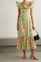 Thumbnail for your product : Rixo June Ruffled Printed Cotton Midi Dress - Yellow