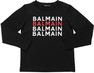 Balmain Logo Print L/s Cotton Jersey T-shirt