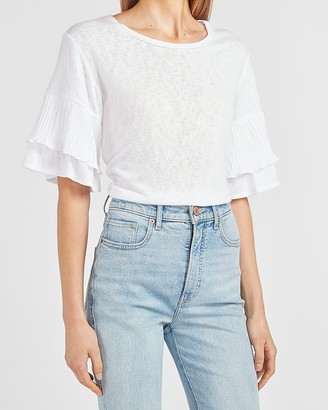 Express Pleated Sleeve Crew Neck Tee