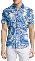Versace Watercolor Baroque Short-Sleeve Sport Shirt, Blue