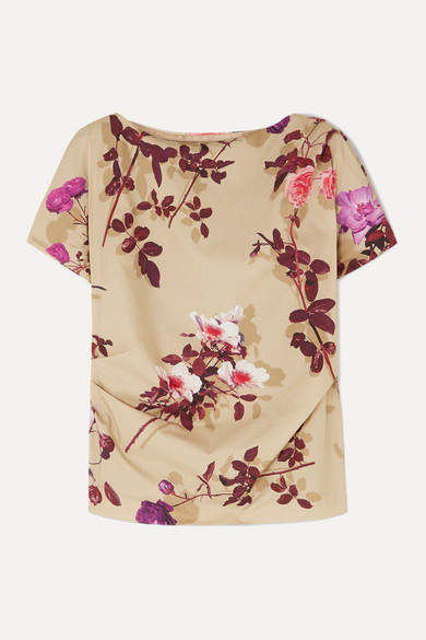 Dries Van Noten Cerus Gathered Floral-print Cotton-poplin Top - Beige