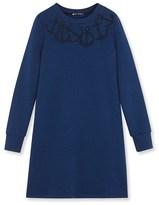 Petit Bateau Womens embroidered cotton fleece dress