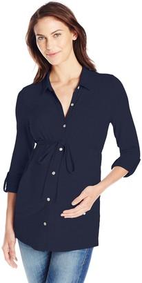 Ripe Maternity Women's Maternity Jersey Long Sleeve Button Up Nursing Shirt