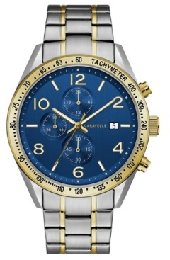 Caravelle Designed by Bulova Men's Chronograph Two-Tone Stainless Steel Bracelet Watch 44mm