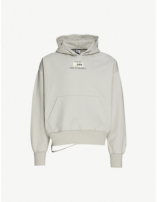Val Kristopher Issue 008 distressed logo-print cotton-jersey hoody