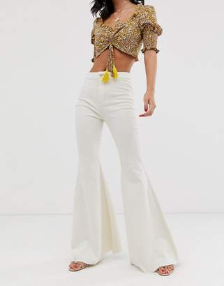 We The Free By Free People by Free People Just Float On high waist flare jean-White