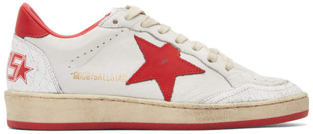 Golden Goose White and Red Ball Star Sneakers