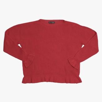 Alpini Knitwear Red Frilled Hem Jumper