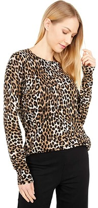 MICHAEL Michael Kors Mega Cheetah Crew Sweater (Dark Camel) Women's Clothing