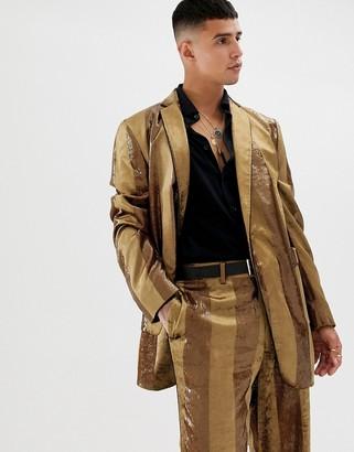 ASOS DESIGN oversized suit jacket in tonal velvet mustard stripe