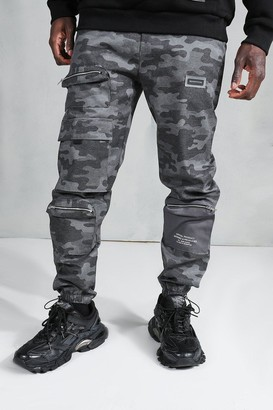 boohoo Mens Black MAN Official Loose Fit Camo Cargo Trousers, Black