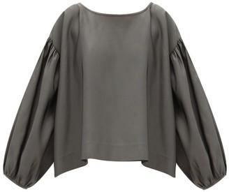 Zanini Balloon-sleeve Gathered Silk-faille Top - Grey
