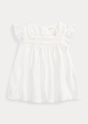 Ralph Lauren Knit Flutter-Sleeve Top