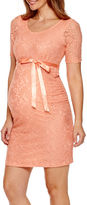 Asstd National Brand Maternity Elbow-Sleeve Lace Dress with Bow Belt