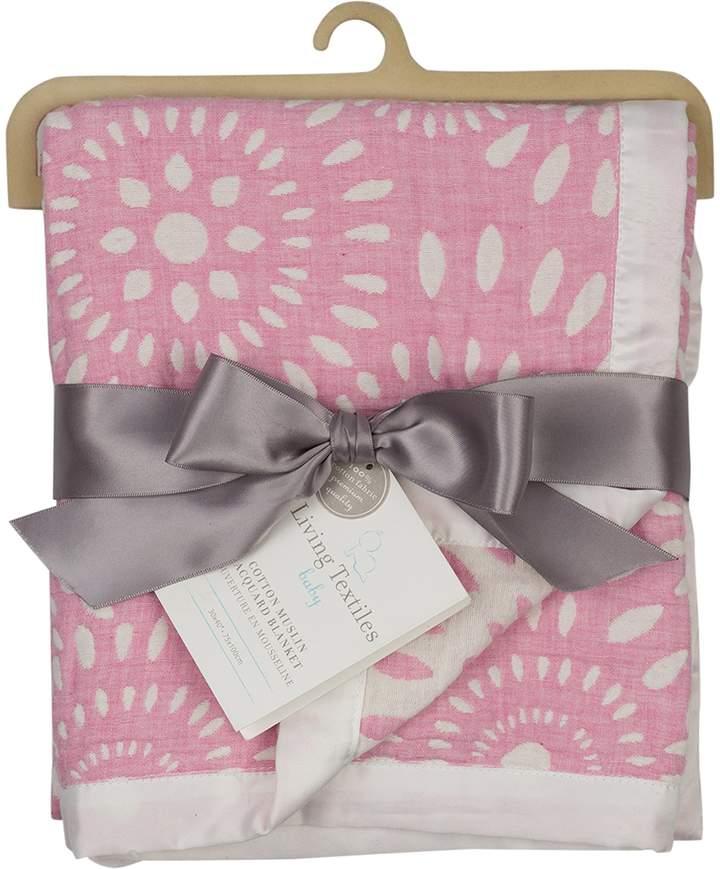 Living Textiles Muslin Jacquard Blanket, Pink Confetti