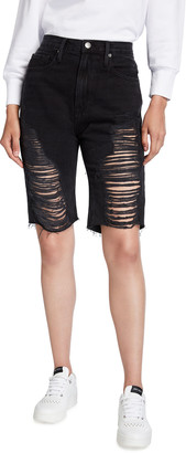 Frame Le Vintage Shredded Denim Bermuda Shorts