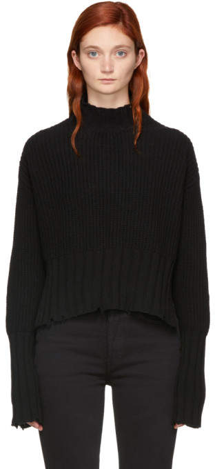 MSGM Black Cropped Crewneck