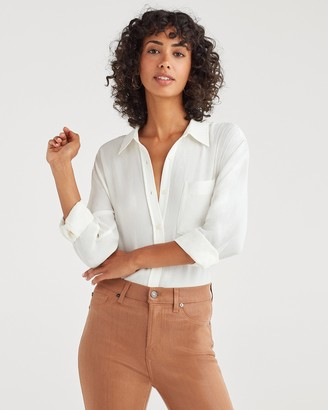 7 For All Mankind High Low Button Up Shirt in Soft White