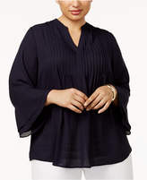 Charter Club Plus Size Pleated Bell-Sleeve Top, Created for Macy's