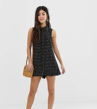 Asos DESIGN Petite sleeveless shirt swing playsuit in print