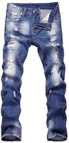 BULUOLANDI Mens Vintage Ripped Zipper Straight Jeans with Broken Hole