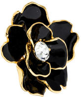 Kenneth Jay Lane Crystal & Enamel Flower Cocktail Ring