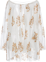 Juliet Dunn Cotton Mini Caftan with Floral Detail
